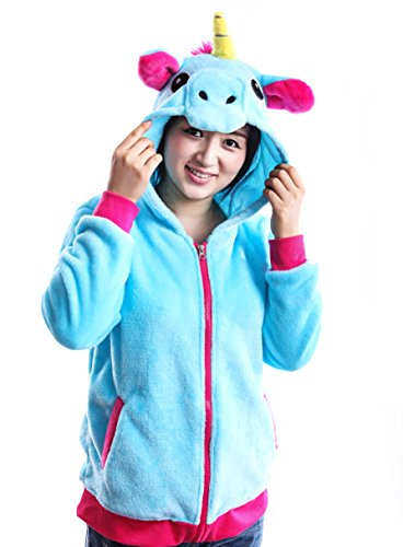 AooToo Costume Hoodies Cute Juniors Kids Cartoon Animal Flannel Zipper Jackets(Blue, (Halloween Cupcakes Cartoon)