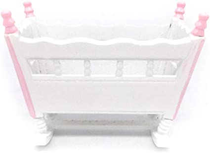 Dollhouse Miniature  White  Crib with Mattress