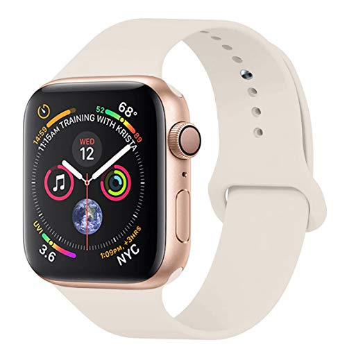 YANCH Compatible with for Apple Watch Band 42mm 44mm, Soft Silicone Sport Band Replacement Wrist Strap Compatible with for iWatch Nike+,Sport,Edition, S/M, Antique White