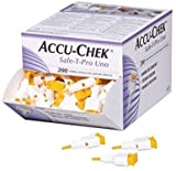 AccuChek SAFE-T PRO UNO 200 Lancets (Single Use Disposal Most Hygenic Lancets) (4 Pack - 200 Lancets)