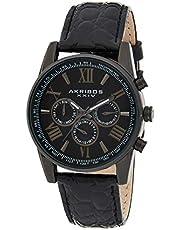 Akribos XXIV AK864BK Men's Black Dial Multifunction Black Leather Strap Watch