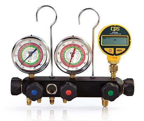 404A R-134A 22 410A 3 1//8 1.0/% Gauges 5 Premium Black BV Hose Set /& 3//8 Vac Hose CPS Vortech MV4H4P5EZ4 Valve Manifold