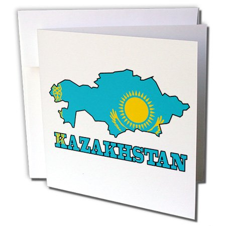 Outline Map Set - 3dRose The flag of Kazakhstan in the outline map of the country - Greeting Cards, 6 x 6 inches, set of 6 (gc_63169_1)