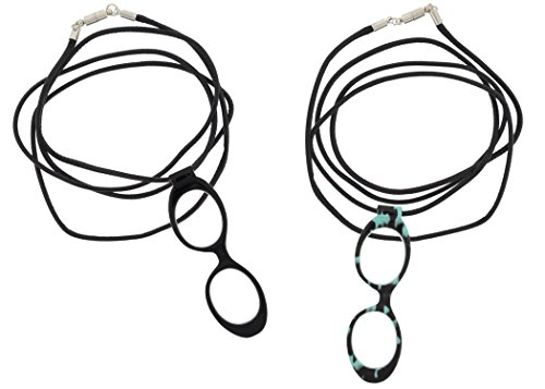 Clasps Glass (Optispex Magnifier Reader Glasses Necklace (2 Pair), Magnetic Clasp (Black & Blue Marble))