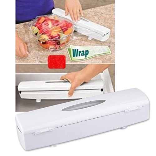 (Food Wrap Dispenser, Justdolife Kitchen Wrap Cutter Plastic Food Wrap Foil Dispenser Cutter Film)