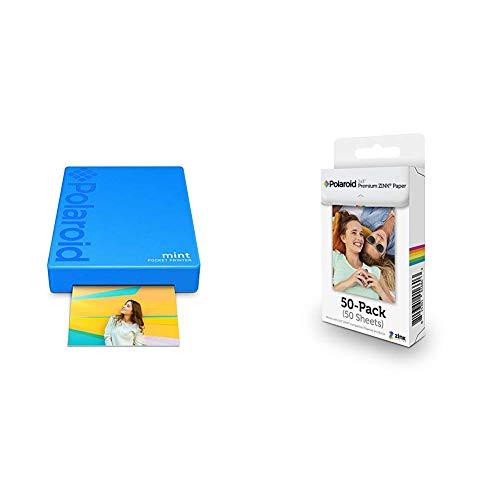 Polaroid Mint Pocket Printer - Blue with Polaroid 2x3ʺ Premium Zink Zero Photo Paper 50-Pack