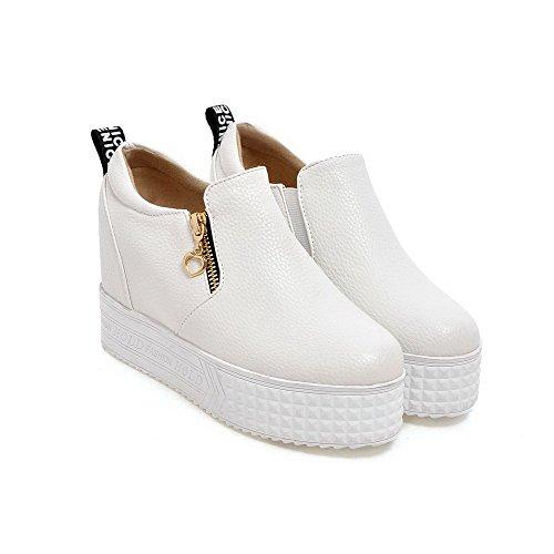 VogueZone009 Damen PU Leder Rein Reißverschluss Rund Zehe Hoher Absatz Pumps Schuhe Weiß