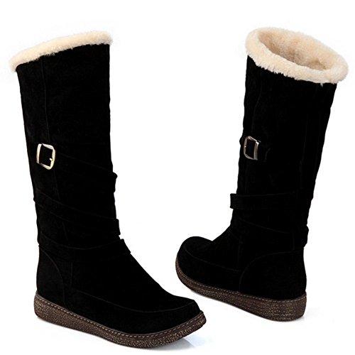 Black COOLCEPT Warm Calf Women's Boots Winter Flat Mid TTPCFq