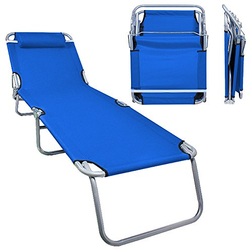 Flexzion Patio Lounge Chair - Portable Folding Chaise Bed for Outdoor Indoor Furniture Home Gargen Yard Pool Beach Camping Sleep SPA with Removable Pillow (Blue)