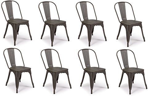 SET OF 8 Tolix Style Iron Chairs, WRIGHT w Wood Top Chair, Sturdy/Stackable Vintage Tabouret Chair, Bistro Chair, Café Chair Indoor and Outdoor Armless with Back