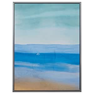 "Abstract Green and Blue Sea Breeze Canvas in Silver Frame, 31.75"" x 41.75"""