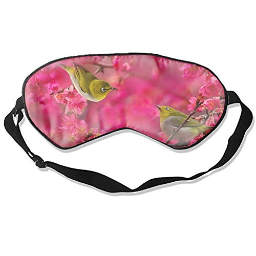 Silk Sleep Mask Blindfold Eyeshade Mandarin Duck On Pink Breathable Soft Protect Eye Mask for Travelling, Sleeping, Relaxation, Spa, Daydream on Plane ()