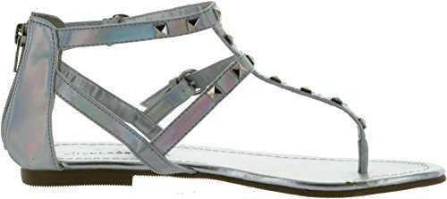 City Classified Womens Willie Closed Back Thong Studded Fashion Sandals Silver Irridescent Pu 1s8qDQGuT