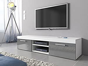 TV Unit Cabinet Stand Mambo Body White Matte Fronts Grey High Gloss 160 Cm