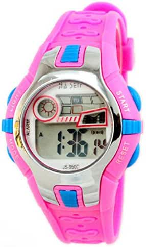 Boys Girls Outdoor Digital Quartz Waterproof Jelly Colorful Sports Watches For 7-15 Years Old Rose