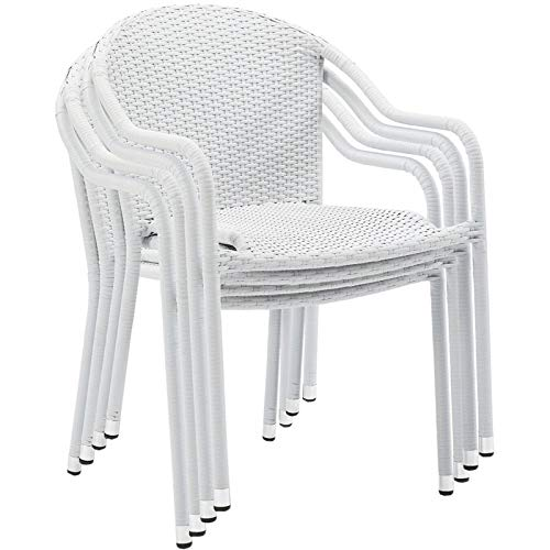 Pemberly Row Outdoor All Weather Wicker Resin Patio Stackable Chair in White (Set of 4) (Wicker Chairs White Patio)