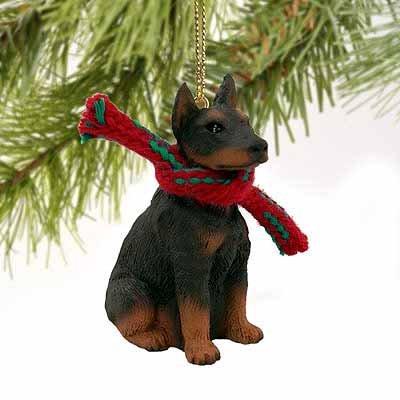 Doberman Pinscher Miniature Dog Ornament - Red