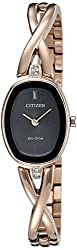 Citizen Eco-Drive Women's 'Silhouette' Quartz Stainless Steel Casual Watch, Color: Rose Gold-Toned (Model: EX1413-55E)