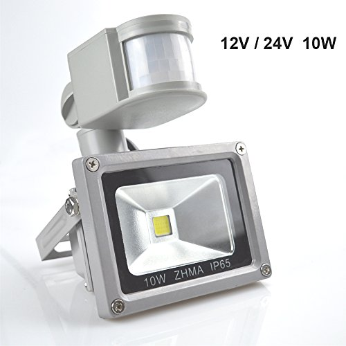 [New Design] ZHMA Motion Sensor Flood Lights,12V10W Outdoor LED Flood Lights,Smart PIR Outdoor Security Floodlight,700lm, 100W Equivalent Bulb, Basement Light,3000K Warm White