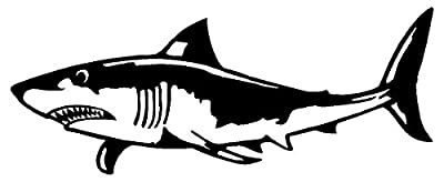 Great White Shark Decal Scuba Diver Dive Car Sticker