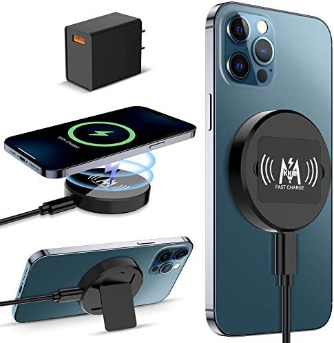 KKM Magnetic Wireless Charger, Compatible with MagazineSafe Charger, 15W Fast Wireless Charging Pad for iPhone 12/12 Pro/12 Pro Max /12 Mini/AirPods Pro