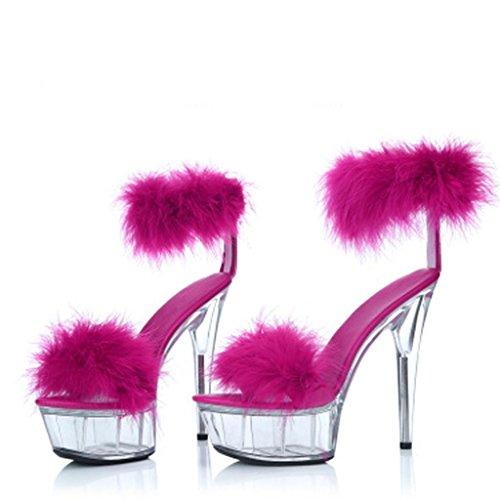 Alto Grueso Zapatos Tacón De Rose con Juego Mujer Fondo Modelo Red Pies Para 15cm Plataforma Heels Super High Sandalias Alto Impermeable BYgSS