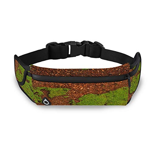 Grass Shape World Map Soil Green Fanny Pack Holder Girls Waist Bag Travel Pack Waist With Adjustable Strap For Workout Traveling Running