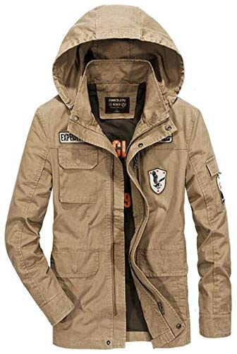 Hooded Coat Force Jacket Lightweight Men's Coat Cotton Military Hooded Air Apparel grün Men's with Patches Bomber Field Armee wHZqxgz
