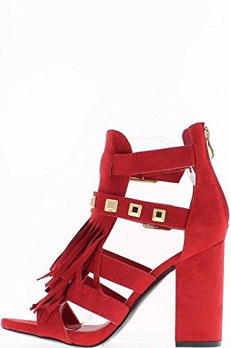 ChaussMoi Sandales Rouges à Talon DE 10.5cm et Plateforme de 2cm