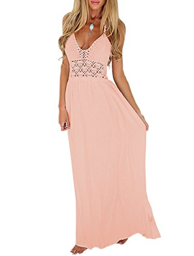 LILBETTER Women's Beach Crochet Backless Bohemian Halter Wedding Dress (XL, Light Pink)