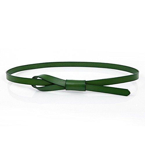 Green Kids Belt (LOHOME Waist Belt, Ladies Women Fashion Simple Vegetable Tanned Leather Adjustable Elastic Waist Belt Skinny Belt Girls Jeans Belt (Green))
