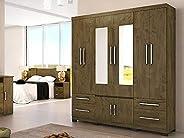 Guarda Roupa Casal 08 Portas e Espelho Porto Moval Castanho Wood