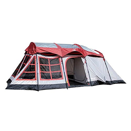 (Tahoe Gear Glacier 12 to 14 Person 3-Season Family Cabin Tent, Red and Gray)