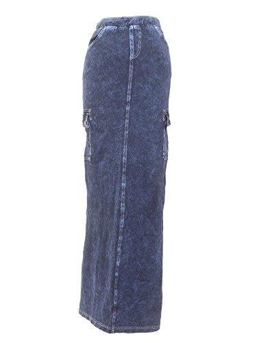 Long Cargo Skirt - Hard Tail Long Cargo Jean Skirt Dark Denim M