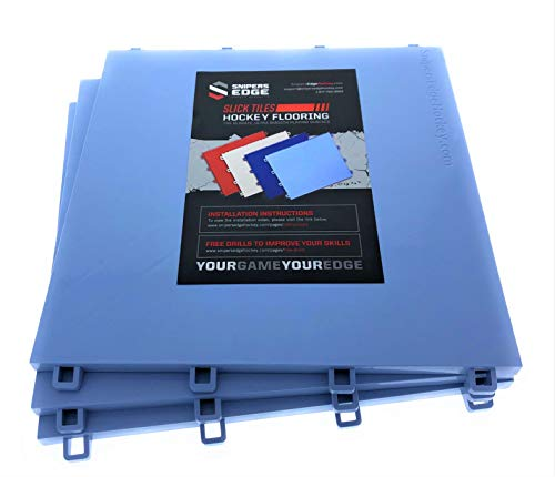 (Sniper's Edge Hockey Dryland Slick Tiles (20 Ice Blue Squares) - Sized Right at 12