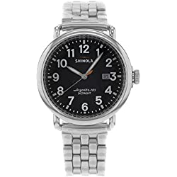 Shinola The Runwell Black Dial Silver Stainless Steel Mens Watch S0100053