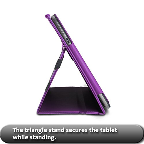 """ASUS Transformer Book T100HA Case, Infiland Premium PU Leather Keyboard Portfolio Stand Cover Case For ASUS Transformer Book T100HA 10.1"""" Laptop (2015 New Released Only)- Purple"""