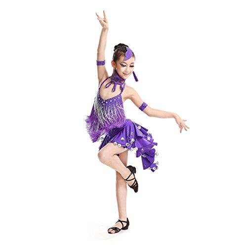 Child Latin Dance Costume, Girls Halloween Dancing Dressing, Latin Dance Competition Costumes, Purple (Latin Dancing Costume Patterns)