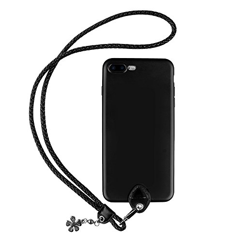 pzoz Case Compatible iPhone 7 Plus/8 Plus Case, Slim Silicone Lanyard Case Cover Holder Long Hanging Neck Wrist Strap Outdoors Travel Necklace Compatible iPhone 7 Plus/8 Plus (Black)