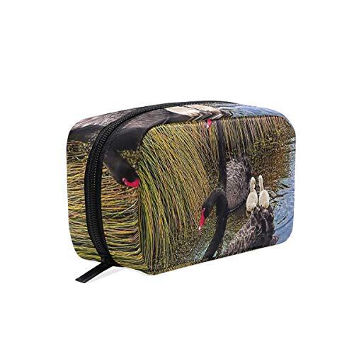 Parenting Parents Swans Black Cosmetic Bag Black Zipper Storage Bag Portable Ladies Travel Square Makeup Brushes Bag ()