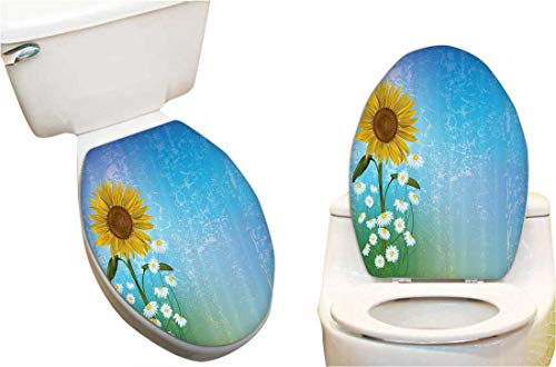 Vinyl Toilet Lid Decal Grunge Floral with Sunflower and Chaomiles Pastel Summertime Fashion Toilet Seat Wall Sticker Decals Vinyl Art 13