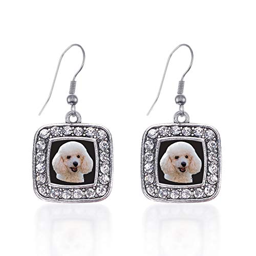 Inspired Silver - The Poodle Charm Earrings for Women - Silver Square Charm French Hook Drop Earrings with Cubic Zirconia Jewelry