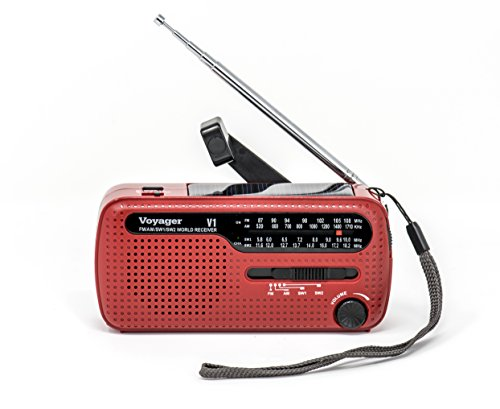 Kaito V1 Voyager Solar/Dynamo AM/FM/SW Emergency Radio with Cell Phone Charger and 3-LED Flashlight, Red (Flashlight Cell Red)
