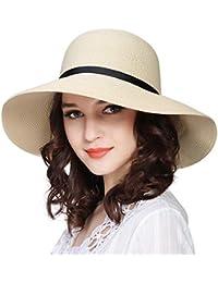 Women Wide Brim Sun Hat Summer Beach Cap UPF50 UV Packable Straw Hat for  Travel b291157eb14