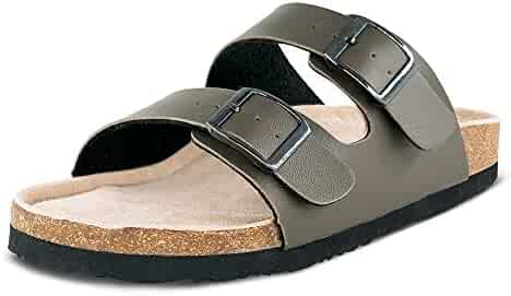 417ddea18e55a TF STAR Women Arizona 2-Strap Adjustable Buckle, Flat Casual Cork Slide  Sandals,