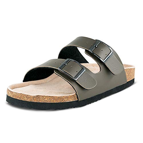 (Women Arizona 2-Strap Adjustable Buckle, Flat Casual Cork Slide Sandals,Slide Cork Footbed Sandals for Women/Ladies/Girls Khaki)
