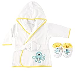 Luvable Friends Woven Terry Baby Bath Robe with Slippers, Octopus
