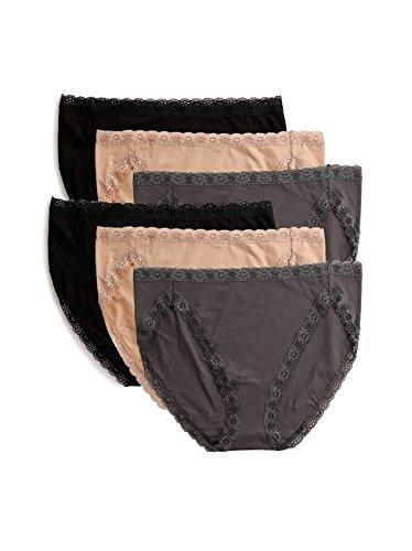 Felina Pima Cotton Hi Cut Panty 6-Pack | Neutral Combo | X-Large