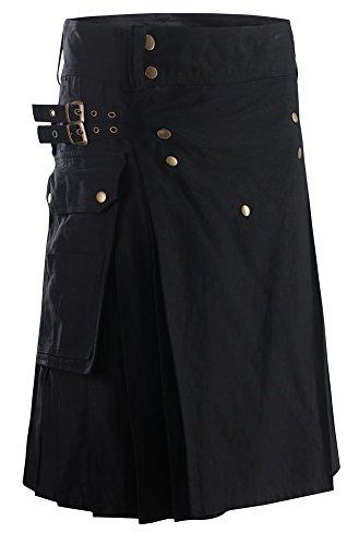 Foucome Men's Black Fashion Sport Utility Kilt Deluxe Kilt Adjustable Sizes Pocket kilt for Active Men And Wedding Kilt