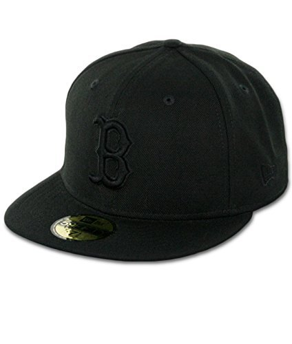 MLB Boston Red Sox Black on Black 59FIFTY Fitted Cap, 7 1/8 ()
